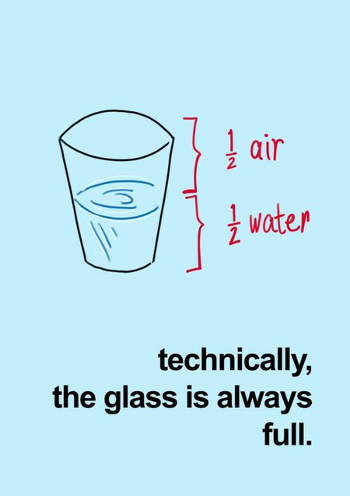 Glass is half empty or half full, or always full